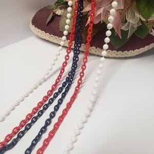 Vintage Multi Color 3 Strand Long Necklace